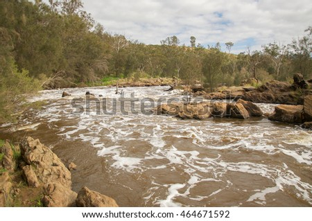 The rocky Bell Rapids where the Avon and Swan River meet in Brigadoon in the Swan Valley region in Western Australia/Swan Valley Bell Rapids/Brigadoon, Western Australia