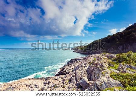 the rocky coast landscape of...