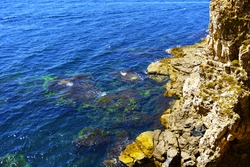 The rocky coast of the island with rare greenish grass. Multi-colored limestone rocks. Red lichen. Beige and yellow rocks. The water surface is blue. Foamy and transparent waves near the shore.