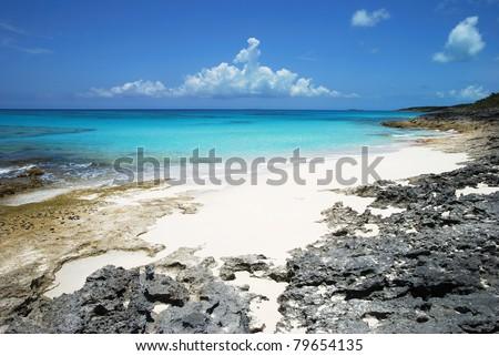 The rocky coastline of Half Moon Cay, The Bahamas.