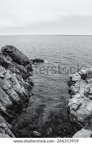 The rocky coastline. Rock in the sea. Black and white