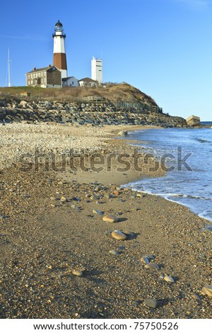 The rocky gravel beach below Montauk Lighthouse at the tip of  Long Island, NY