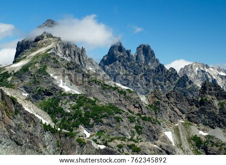 The Rocky Peaks of Lemah Mountain and Chimney Rock.  Alpine Lakes Wilderness, Cascade Mountains, Washington #762345892