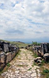 The rocky road in Pamukkale Hierapolis Ancient City. Denizli in Turkey.