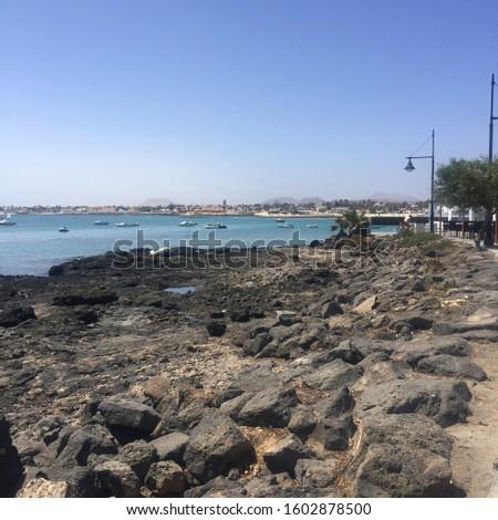 The Rocky shoreline of fuerteventura