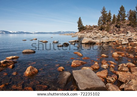 The rocky shoreline of Lake Tahoe.