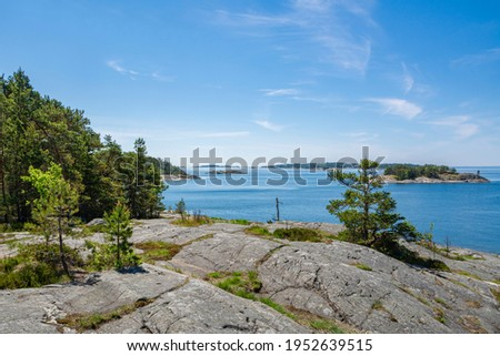 The rocky view of Porkkalanniemi and view to the Gulf of Finland and island on the background, Finland  Stockfoto ©
