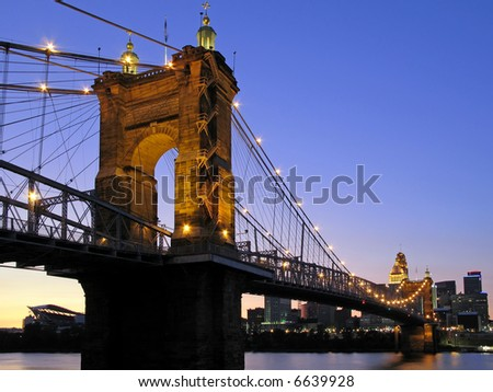 The Roebling Suspension Bridge in Cincinnati, Ohio.