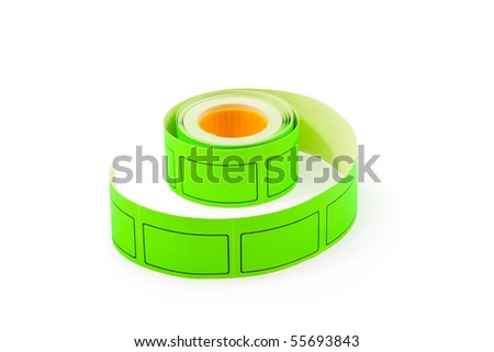 The roll of green price labels on the white background