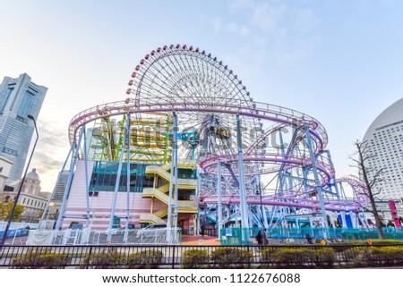 The Roller Coaster in the center of Yokohama City stock photo