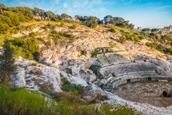The Roman Amphitheatre of Cagliari, Sardinia, Italy. Built in the 2nd century AD, half carved in the rock of a hill.