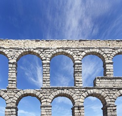 The Roman aqueduct of Segovia, probably built c. A.D. 50, is remarkably well preserved, Castilla y Leon, Spain, World Heritage Site by UNESCO