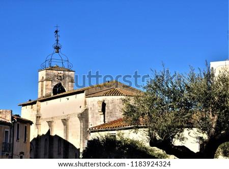 the roman church saint jean baptiste from castelnau le lez ,occitanie france Stock fotó ©