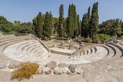 The Roman Odeon of Kos island. The ruins of the ancient amphitheater. Kos island, Greece. One of the dodecanese Islands, Greece, Southern Aegean region.