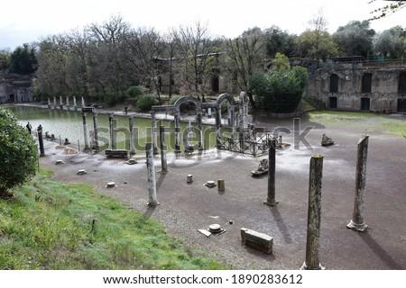The roman ruins of Villa Adriana Hadrian's Villa (Villa Adriana in Italian) is a large Roman archaeological complex at Tivoli, Italy. An UNESCO World Heritage Site Stock fotó ©