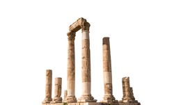The Roman Temple of Hercules (Amman Citadel, Jordan) isolated on white background