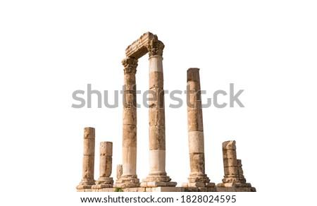 The Roman Temple of Hercules (Amman Citadel, Jordan) isolated on white background