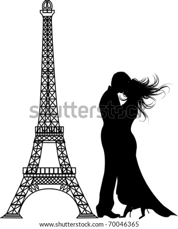 the romance paris Silhouette (vector version in portfolio)