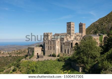The Romanesque abbey of Sant Pere de Rodes in Cap de Creus Natural Park, in the municipality of El Port de la Selva. Girona, Catalonia Stock fotó ©
