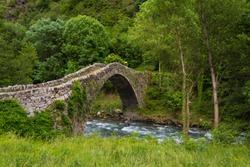 The romanesque bridge of Margineda in Andorra