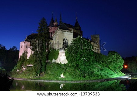 The romantic castle of Bojnice, Slovakia at night