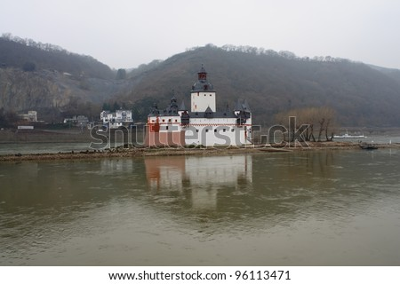 The romantic castle Pfalzgrafenstein near Kaub, island in the river Rhine (Rheinland-Pfalz, Germany)