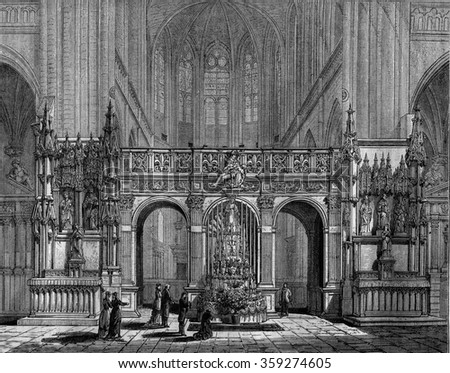 The Rood Screen of the church of Saint-Florentin, Yonne, vintage engraved illustration. Magasin Pittoresque 1880.