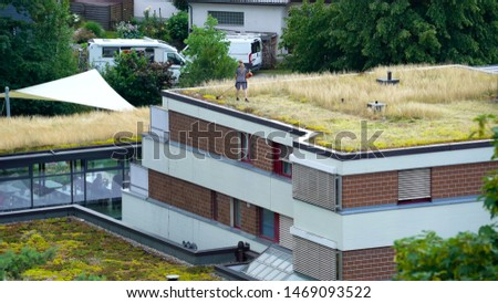 The Roof of the Ecological House. Gardener Shears     Grass on the Roof of the Ecological House.  #1469093522