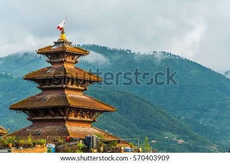 The roof of the Nyatapola temple on Bhaktapur Nepal