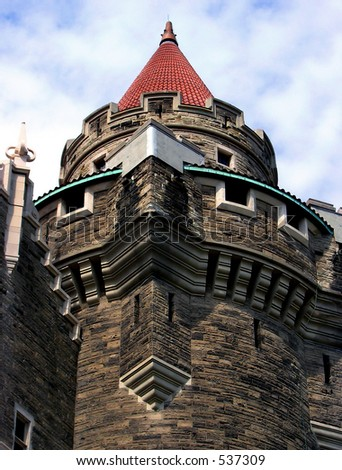 The roof of the palace. The roof of East or Scottish Tower (back view) of the castle Casa Loma.