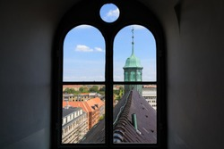 The roof of the Round Tower, view through the window, Copenhagen, Denmark