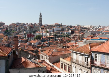 The roofs of the old houses in the old Porto