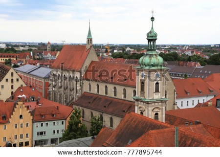 The roofs of the quarter of the olf Franciscan Church and the Carmel Church of Regensburg, seen from a hightened point of view. Picture was taken in summer.