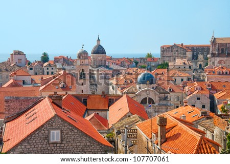 The rooftops of old city in Dubrovnik, Croatia