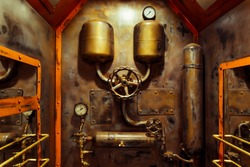 The room in vintage steampunk style with steam pipes and pressure gauge