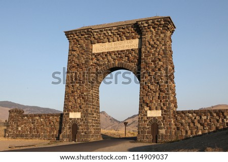The Roosevelt Arch at the North entrance to Yellowstone National Park.