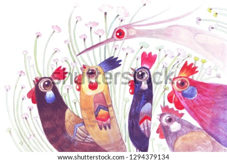 The roosters family and friend in the pasture.Hand drawn digital painting illustration.For animals illustration, cartoon illustration,background,wallpaper,decoration,greeting cards,children books .
