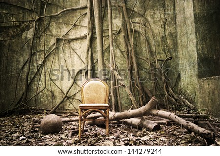 the roots on the wall and the empty chair - grunge and textured