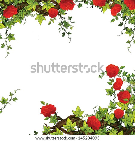 The rose frame - border - template - with roses - valentines - fairy tales - illustration for the children