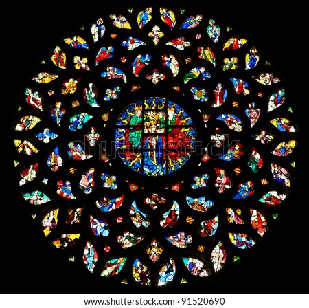 The rosette window of Santa Maria del Mar, Barcelona.