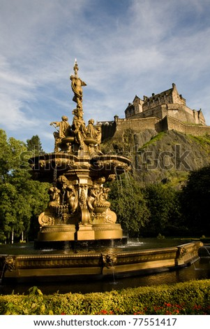 The Ross Fountain and Castle in Edinburgh, Scotland