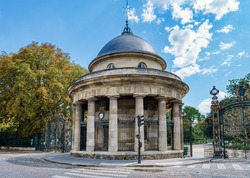 The Rotunda of Parc Monceau in Paris, France. It is located at the main entrance of the park. It was built in 1787 as part of the Wall of the Farmers-General.