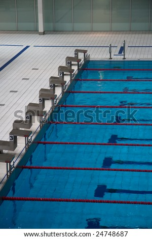 The Row Of Starting Blocks Of A Swimming Pool Olympic Size Stock Photo 24748687 Shutterstock