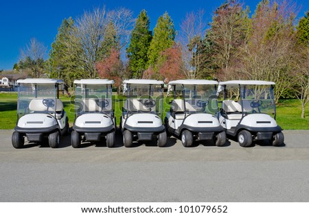 The row of the golf carts at the golf course