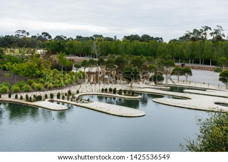 The Royal Botanic Gardens at Cranbourne near Melbourne in Australia feature native plants and extensive ponds.