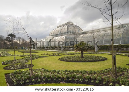 The Royal Botanic Gardens, Kew, usually referred to as Kew Gardens, is 121 hectares of gardens and botanical glasshouses between Richmond and Kew in southwest London, England