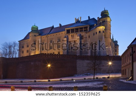 The Royal Castle on Wawel Hill in the city of Krakow in Poland.