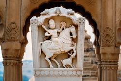 The royal cenotaphs of historic rulers, also known as Jaisalmer Chhatris, at Bada Bagh in Jaisalmer, Rajasthan, India. Horseman sculpture in the central gallery