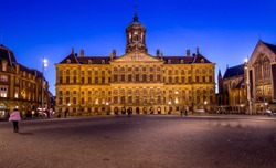 The Royal Palace in Amsterdam at Night, Horizontal View