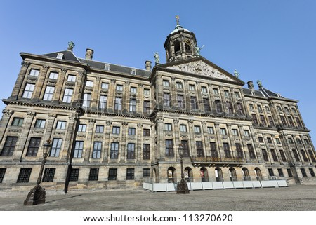 The Royal Palace in Amsterdam. The palace was built as city hall during the Dutch Golden Age in the seventeenth century.